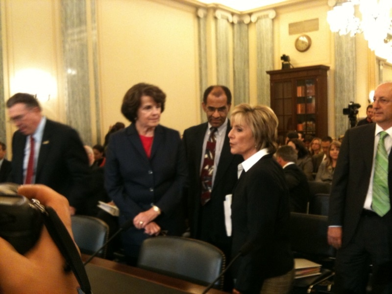 Senators Dianne Feinstein and Barbara Boxer with Christopher Hart, vice chair of the National Transportation Safety Board, in Washington, D.C., Sept. 28, 2010.