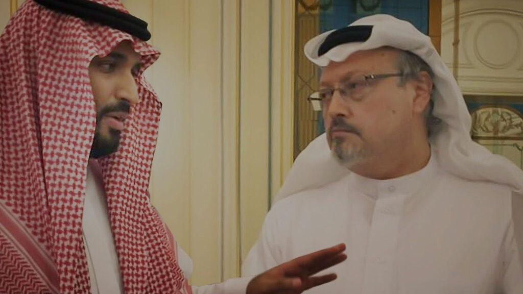 "Jamal Khashoggi, right, in the Bryan Fogel documentary ""The Dissident."