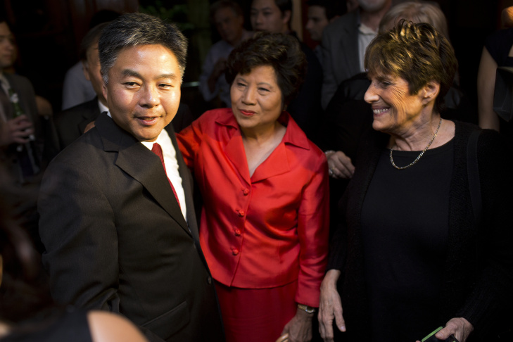Ted Lieu speaks at his election night party with the Waxmans accompanying him on stage.