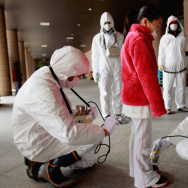 A child is screened for leaked radiation from the Fukushima Dai-ichi nuclear plant in Japan's Fukushima prefecture on March 24, 2011.