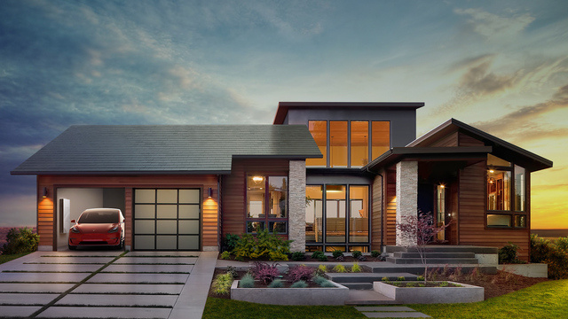 The Tesla Solar Roof is designed to seamlessly integrate with a home's roof while providing power for both the home and an electric vehicle.