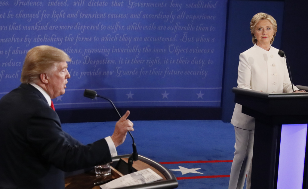 Donald Trump and Hillary Clinton during the final presidential debate, held at the University of Las Vegas on October 19, 2016.