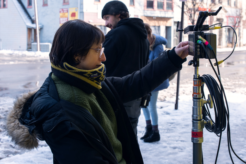 Director Eliza Hittman on the set of her film