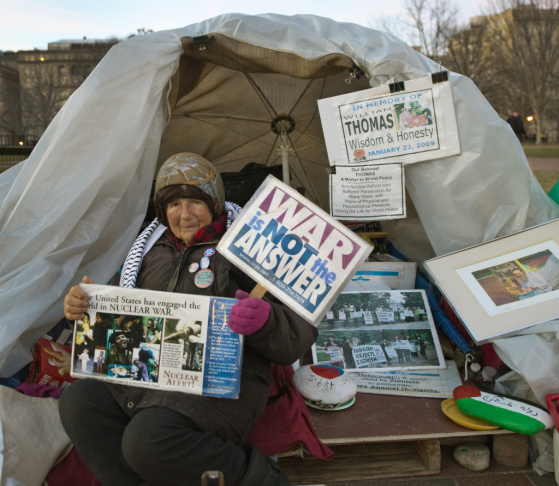 Concepcion Picciotto, also known as Conchita or Connie, is seen at her daily protest in front of the White House on March 5, 2010 in Washington, DC. Picciotto has lived in the small camp on Lafayette Square directly opposite the presidential mansion since
