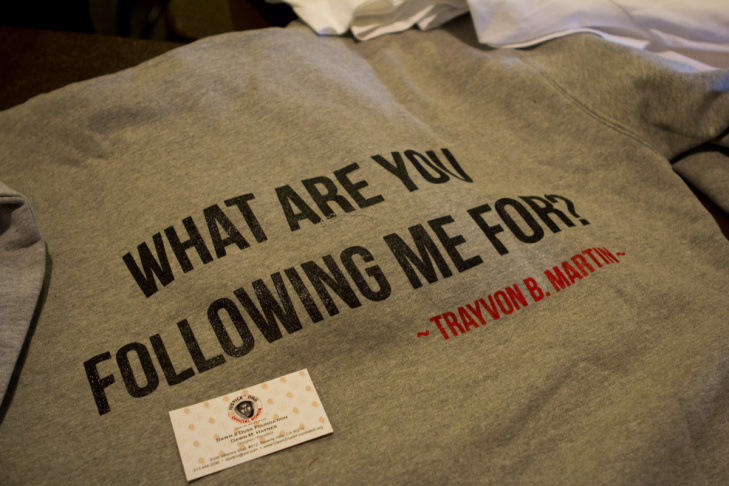 Proceeds from t-shirts for sale in the church lobby will go to the family of Trayvon Martin.