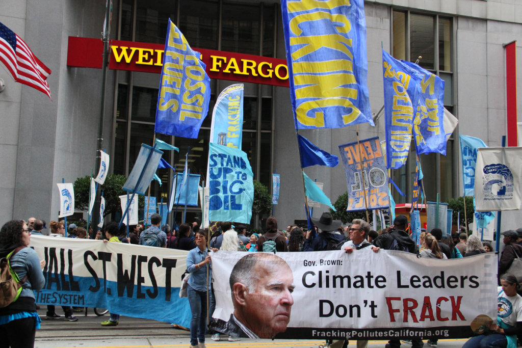 Three years ago this month protesters in front of a Wells Fargo branch in the financial district of San Francisco also targeted Gov. Jerry Brown.