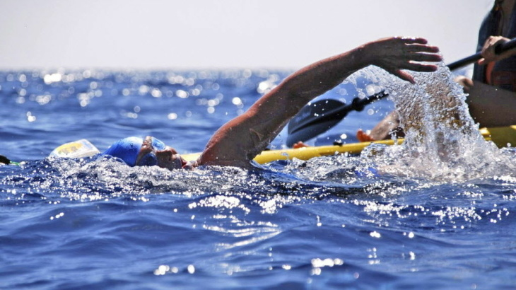 Diana Nyad after being pulled from the water on Tuesday, Aug. 21, 2012.