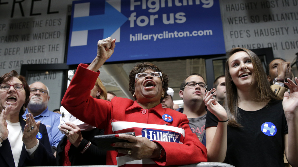 Supporters of Democratic presidential candidate Hillary Clinton cheer during a speech by the candidate last week in Baltimore.