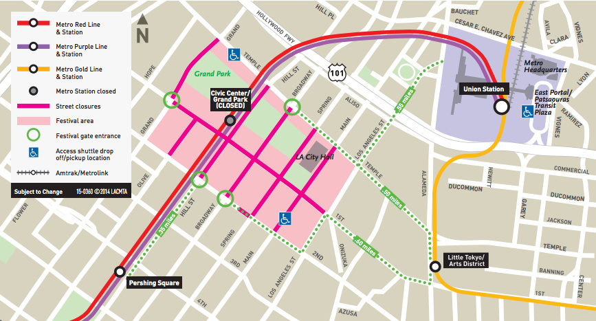 Map Of America Los Angeles.Made In America Festival Traffic Street Closures Detours Metro