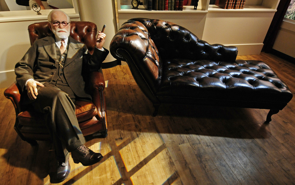 A wax likeness of Austrian founder of the psychoanalysis Sigmund Freud sits in Berlin's Madame Tussaud's wax museum.