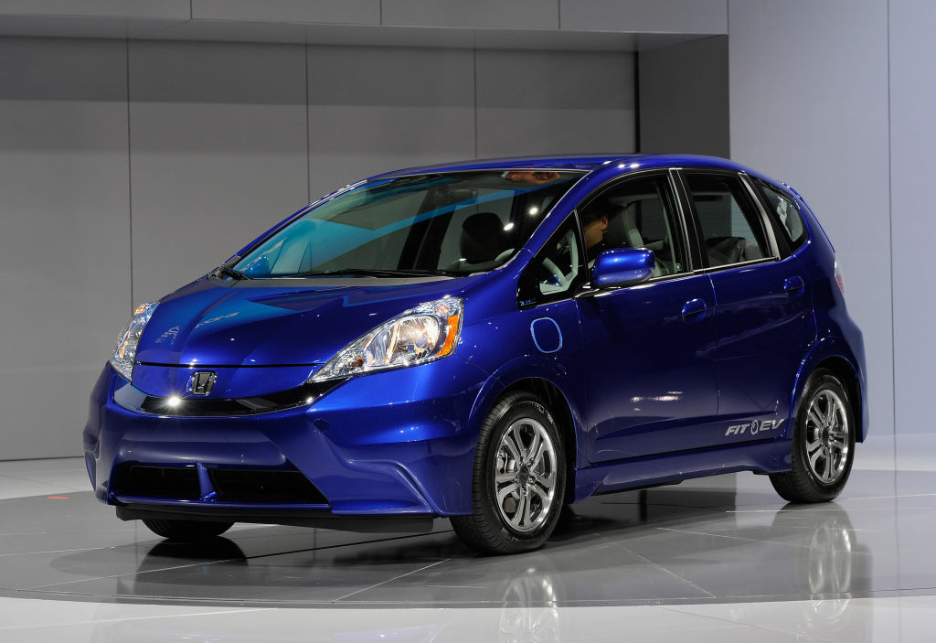 The new Honda Fit EV all electric car is unveiled at the L.A. Auto Show on November 16, 2011 in Los Angeles.