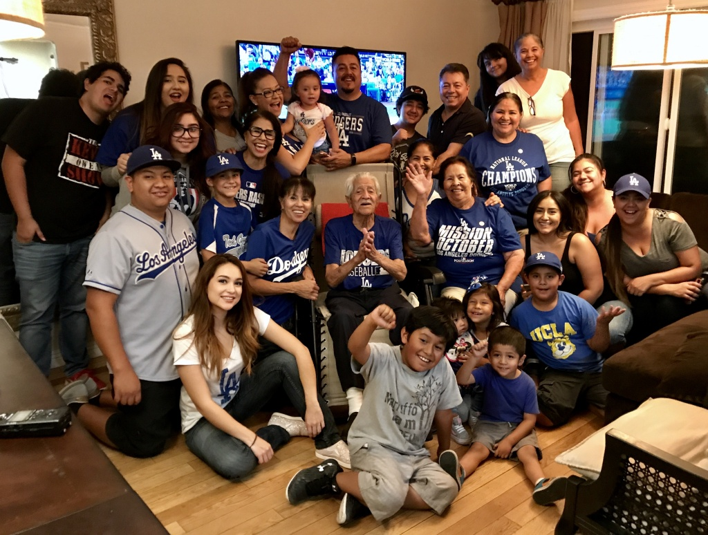 Five generations of Dodger fans, with great, great grandparents Andres and Paula Marruffo in the center.
