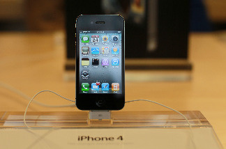 The new iPhone 4, which went on sale the morning of June 24, 2010 is displayed at the flagship Apple Store on Fifth Avenue on June 24, 2010 in New York City.