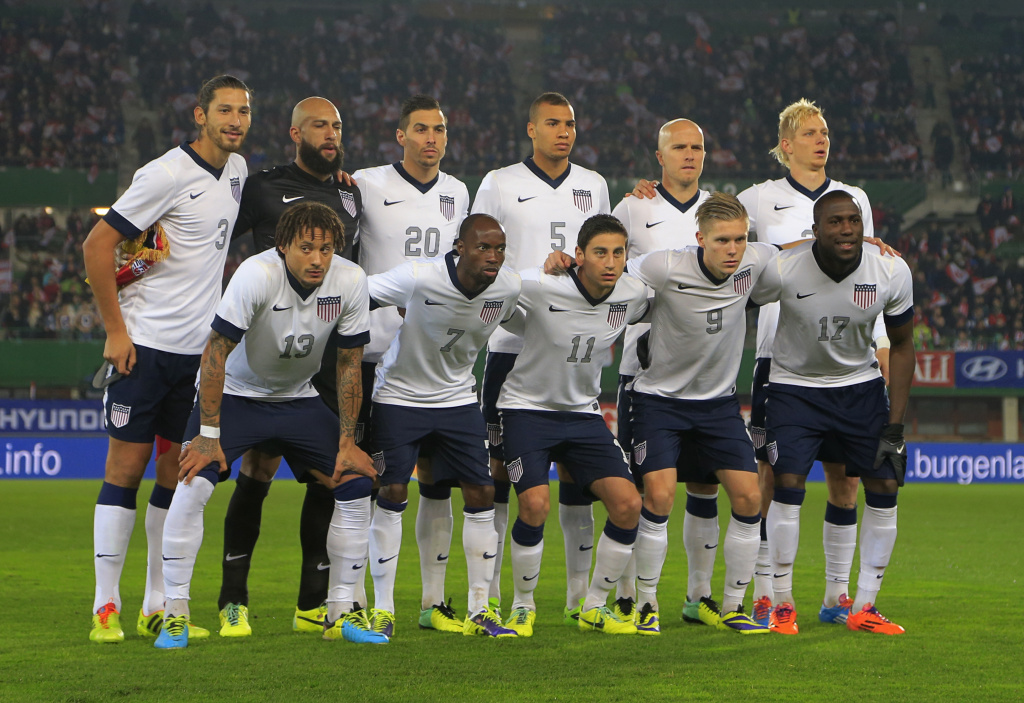 United States' (top L-R) football team players Omar Gonzalez, goalkeeper and captain Tim Howard, Geoff Cameron, John Brooks, Michael Bradley, Brek Shea and (bottom L-R) Jermaine Jones, DaMarcus Beasley, Alejandro Bedoya, Aron Johannsson Jozy Altidore pose for a team picture ahead of the FIFA World Cup 2014 friendly football match between Austria and United States on November 19, 2013 at the Ernst Happel Stadium, in Vienna. Austria won 1-0.