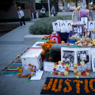 This Día de Los Muertos altar in Grand Park is dedicated to the Mexican students missing and feared murdered by drug cartels.