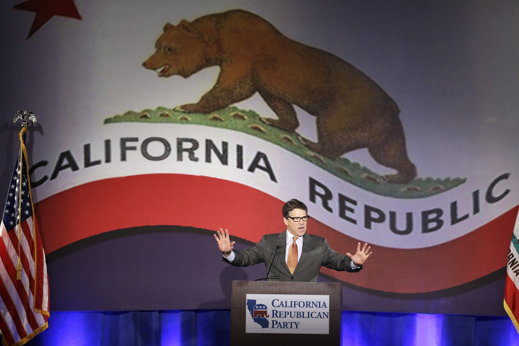 Texas Gov. Rick Perry gives the keynote speech at the California Republican Party convention in Anaheim, Calif., Saturday, Oct. 5, 2013.