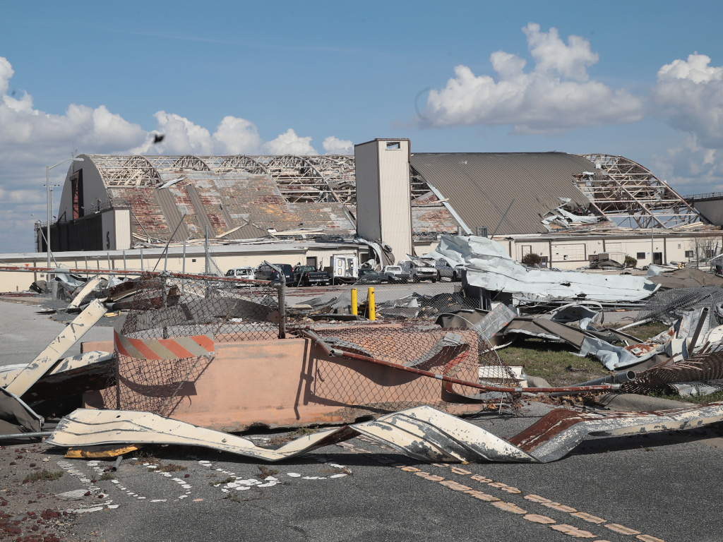 Debris litters Tyndall Air Force Base following Hurricane Michael in October, 2018. Now the air force is rebuilding the base to be more resilient to future storms.
