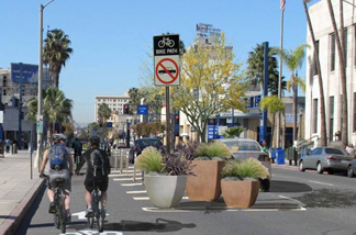 Sketch of the planned bike path going down 3rd Street at Long Beach Blvd.
