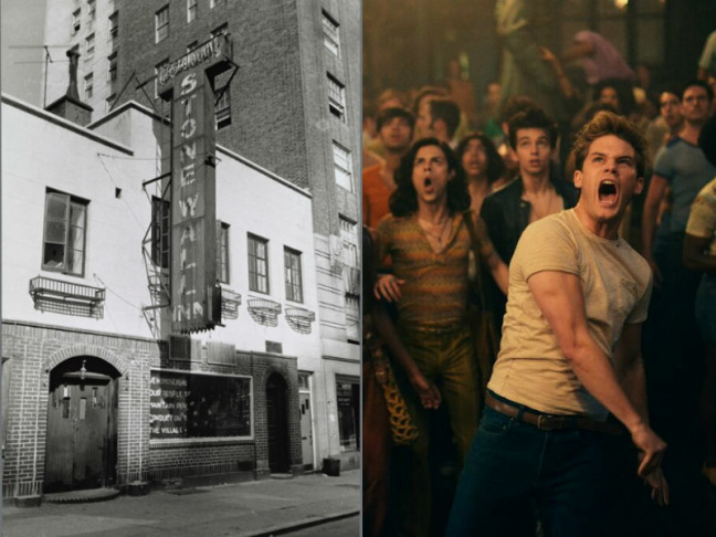 New York City's Stonewall Inn was the site of a riot in 1969 that's considered one of the most important historical moments the LGBT rights movement. L: an archival image of Stonewall in 1969. R: Jeremy Irvine stars as Danny, a fictionalized character in the movie