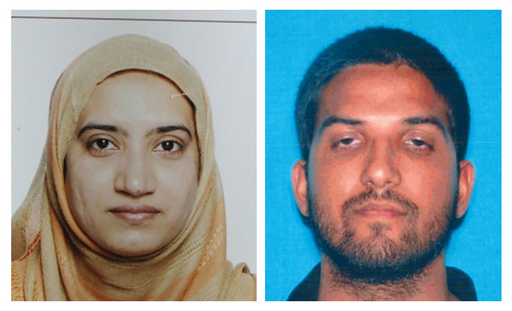 This undated combination of photos provided by the FBI, left, and the California Department of Motor Vehicles shows Tashfeen Malik, left, and Syed Farook. The husband and wife died in a fierce gunbattle with authorities several hours after their commando-style assault on a gathering of Farook's colleagues from San Bernardino, Calif., County's health department Wednesday, Dec. 2, 2015.