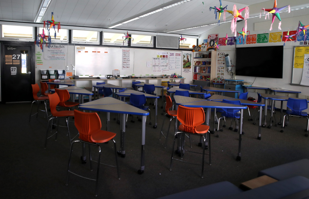 A classroom sits empty at Kent Middle School on April 01, 2020 in Kentfield, California.