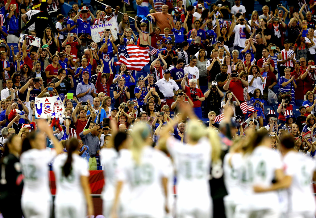 The United States celebrates the 2-0 victory against Germany in the FIFA Women's World Cup 2015 Semi-Final Match at Olympic Stadium on June 30, 2015 in Montreal, Canada.