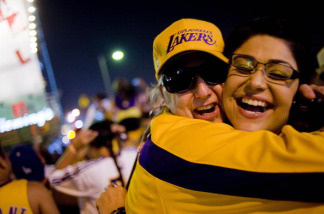 Los Angeles Lakers fans celebrateafter winning the 2010 NBA Championship against the Boston Celtics outside the Staples Center on June 17, 2010 in Los Angeles.
