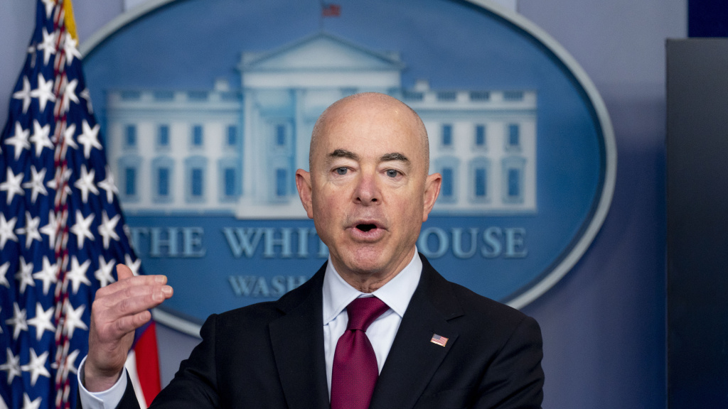 Homeland Security Secretary Alejandro Mayorkas speaks during a March 1 news conference at the White House. The Biden administration says four families who were separated at the Mexico border during the Trump administration would be reunited in the U.S. during the first week of May. The first of what Mayorkas calls