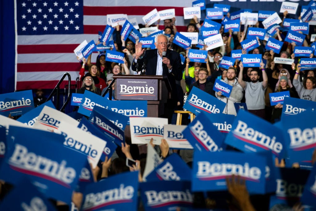 Democratic Presidential Candidate Sen. Bernie Sanders addresses supporters during a campaign rally at the TCF Center on March 6, 2020 in Detroit, Michigan.