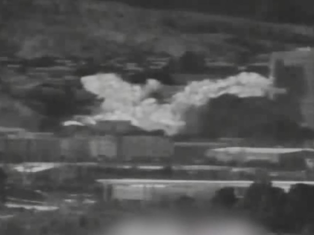 An image from a thermal observation device shows the explosion of an inter-Korean liaison office building in North Korea's Kaesong as seen from Paju, South Korea, on Tuesday.
