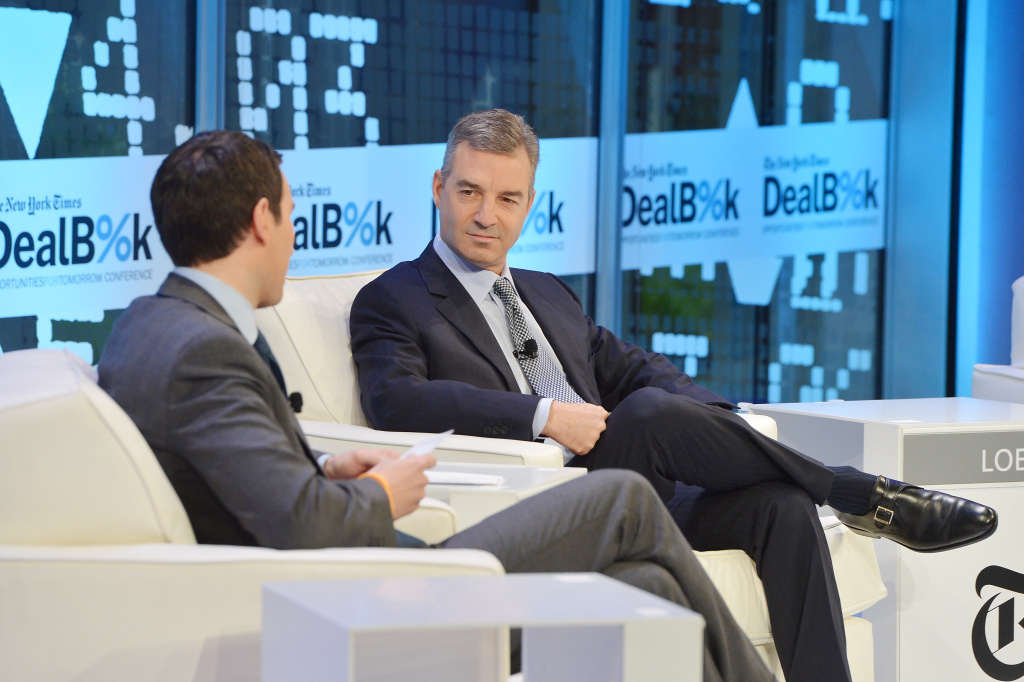 Journalist Andrew Ross Sorkin (L) and billionaire investor Daniel Loeb participate in a discussion at the New York Times.  Loeb has pushed for Sony to spin off its entertainment division.
