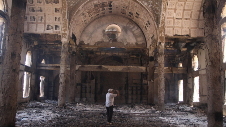 The damaged interior of the Saint Moussa Church is seen Thursday, a day after it was torched in sectarian violence in Minya, south of Cairo, Egypt.