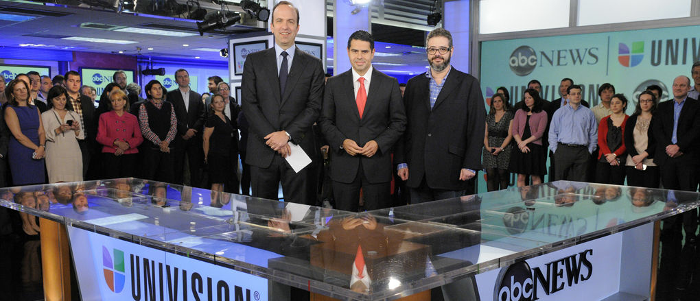 ABC News president Ben Sherwood (left), Univision Networks president Cesar Conde (center) and Univision News president Isaac Lee pose as they announce the joint venture between ABC News and Univision News on Monday in New York City.