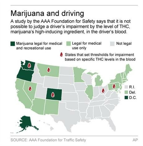 A study by the AAA Foundation for Safety says that it is not possible to judge a driver's impairment by the level of THC in the driver's blood.