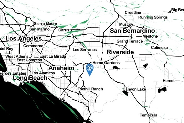The epicenter of a 2.5 earthquake near Yorba Linda on Wednesday, Feb. 12, 2014.