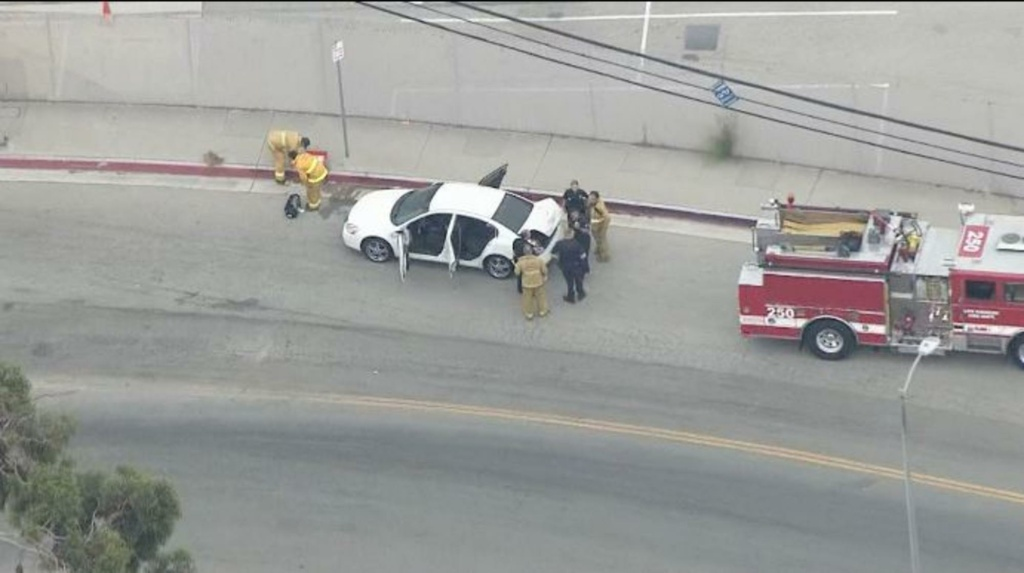 The scene following a shooting from one car to another in Atwater Village on Wednesday, Aug. 20, 2014 in a screenshot from NBC L.A.