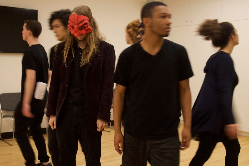 At a rehearsal ahead of the Wallis Youth Theater Company's first performance, the cast spins away from the masked