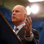 California Gov. Jerry Brown speaks during a news conference to announce emergency drought legislation on March 19, 2015 in Sacramento, California. As California enters its fourth year of severe drought, California Gov. Jerry Brown joined Senate President pro Tempore Kevin de Leon, Assembly Speaker Toni Atkins, Republican Leaders Senator Bob Huff and Assemblymember Kristin Olsen to announce emergency legislation that aims to assist local communities that are struggling with devastating drought. The $1 billion package is designed to expedite bond funding to help ensure that all Californians have access to local water supplies. (Photo by Justin Sullivan/Getty Images)