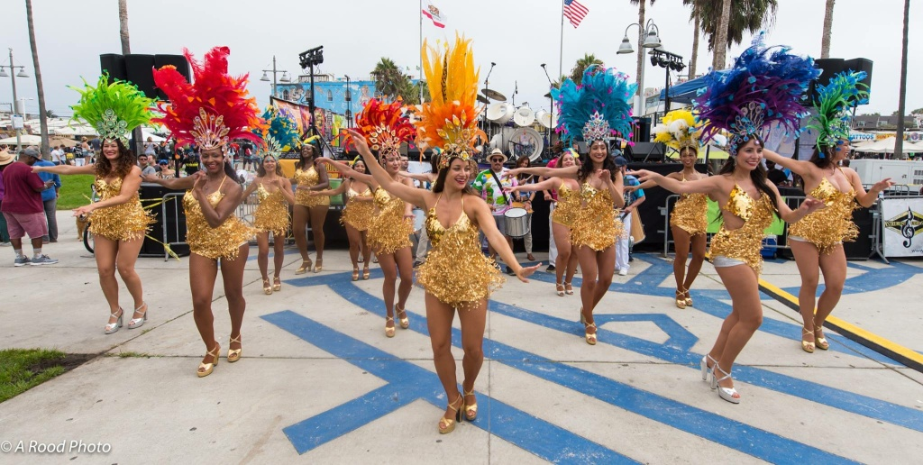 Samba Soul performs at the Venice Spring Fling festival in Los Angeles, California.