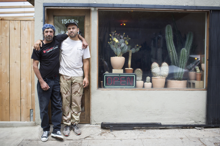 Johnny, left, and nephew Carlos Morera are co-owners of a cactus store in Echo Park. The store first opened in December.