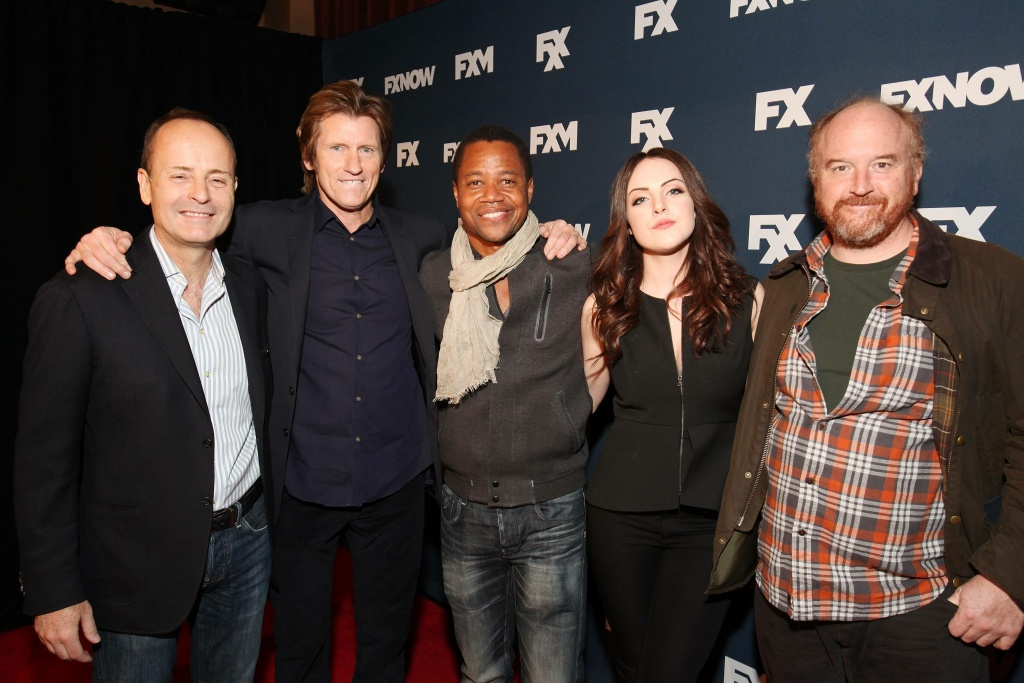 NEW YORK - APRIL 22: (L-R) CEO, FX Networks & FX Productions, John Landgraf, Denis Leary, Cuba Gooding Jr., Liz Gillies, and Louis C.K. attend the FX Networks Upfront Bowling Party at Lucky Strike on April 22, 2015 in New York City. (Photo by Carol Seitz/PictureGroup/FX)