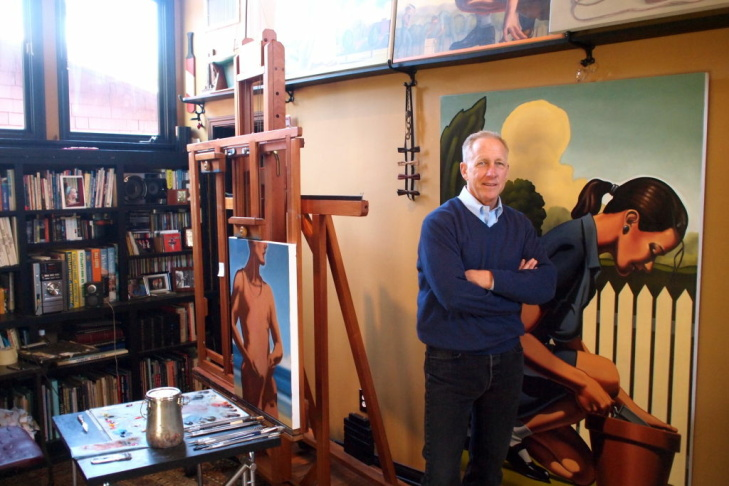 Artist Kenton Nelson in his Pasadena studio