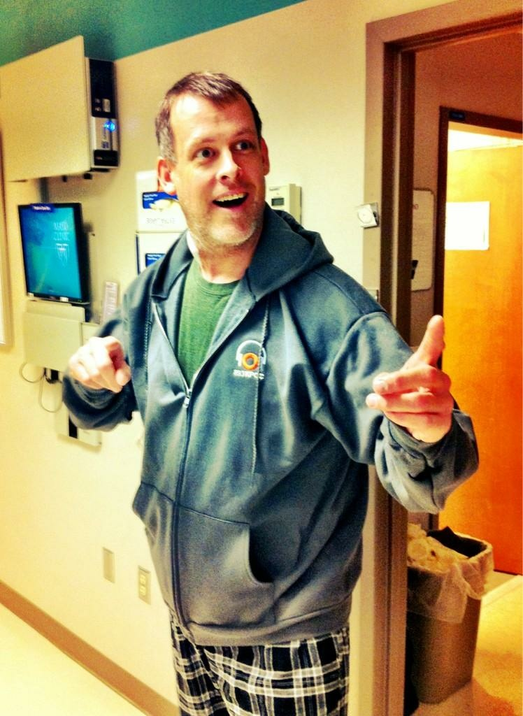 James Rabe, with new kidney (not shown) and KPCC fleece hoodie (shown).