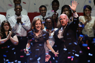 California Governor-elect Jerry Brown (R) with his wife Anne Gust-Brown after speaking to supporters as he celebrates his win during an election night party at Fox Theatre on November 2, 2010 in Oakland, California. Jerry Brown defeated republican challenger and former eBay CEO Meg Whitman.