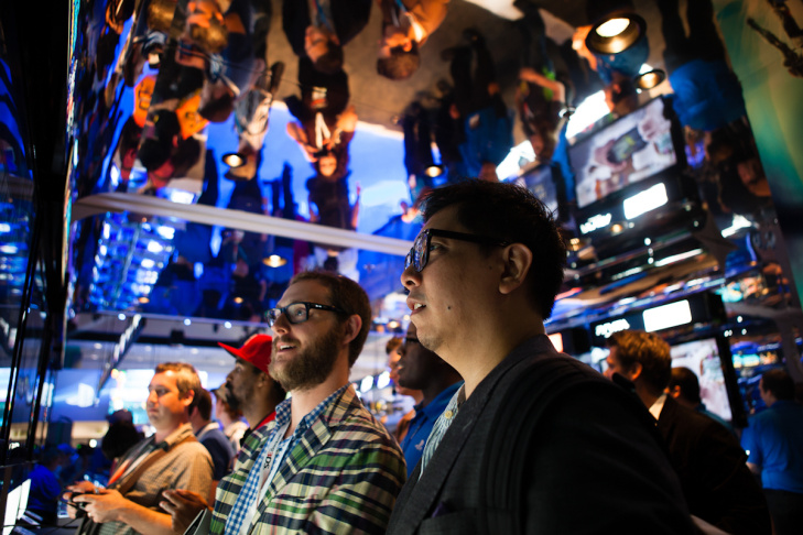 Gamers take in the sights at the E3 Expo. At this big event for Los Angeles and Southern California, the big star is Ubisoft, a French company.