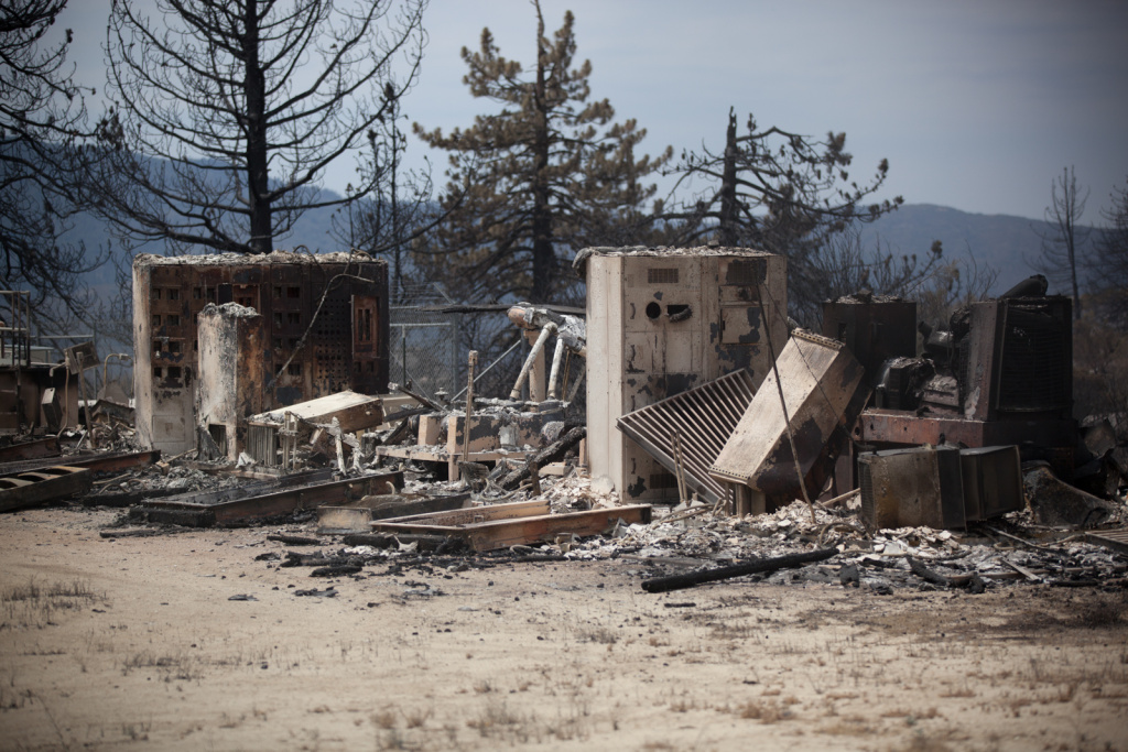 The Mountain Fire is 92 percent contained Thursday after burning 27,531 acres in the San Bernardino National Forest near Idyllwild in Riverside County. The fire, which destroyed 23 structures, started July 15. (File photo: One of the structures destroyed by the Mountain Fire).