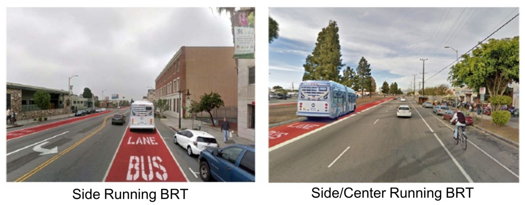 An L.A. Metro presentation shows the two concepts for a dedicated busway on Vermont Avenue.