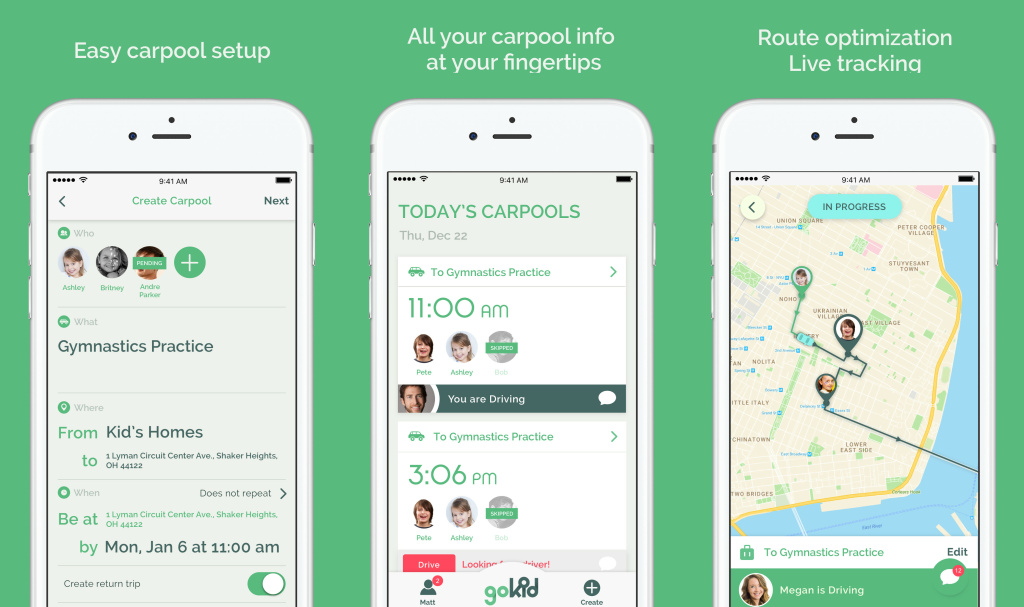 GoKid is a carpool app for parents that was one of the top 10 automotive startups at the 2017 LA Auto Show Automobility connected car conference.
