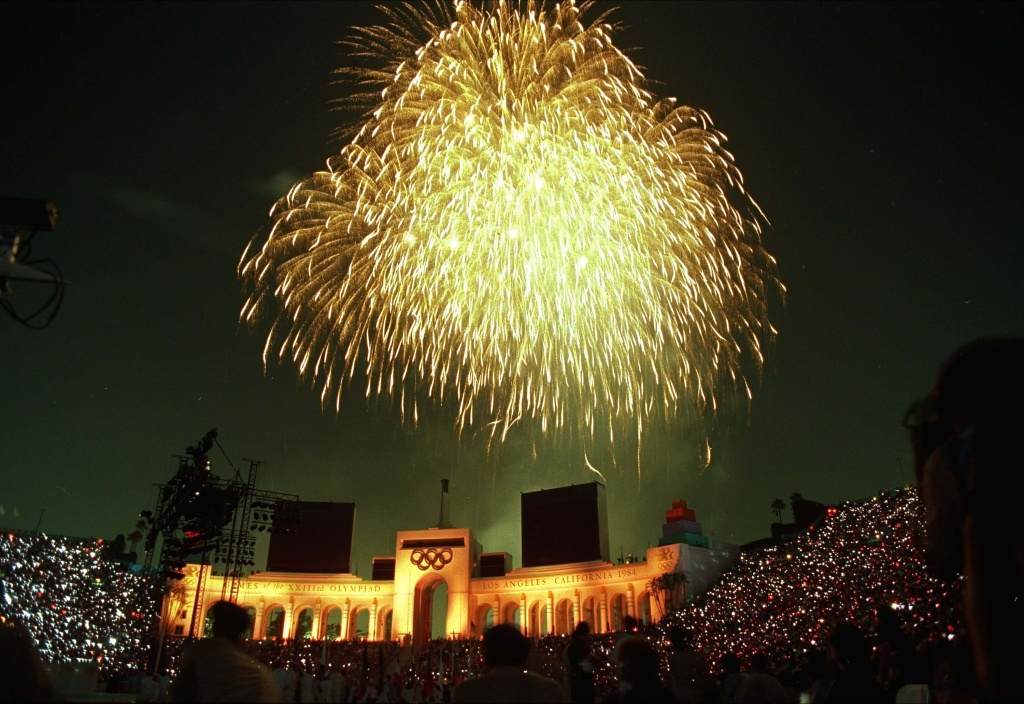 Fireworks light up the sky over the Los Angeles Memorial Coliseum during closing ceremonies of the Summer Olympics in this Aug. 12, 1984, file photo.