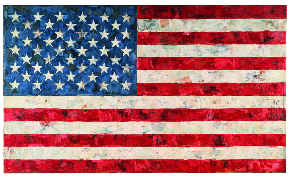 Jasper Johns, Flag, 1967. Encaustic and collage on canvas (three panels). Broad Collection